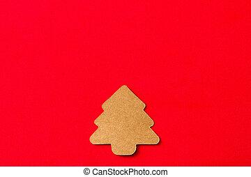 rojo, árbol, navidad, plano de fondo, etiqueta