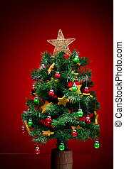 rojo, árbol, navidad, plano de fondo, festivo