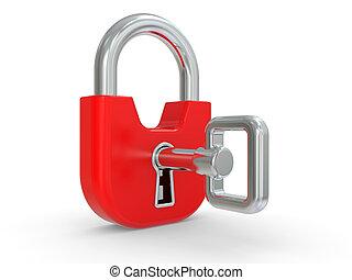 rojo, 3d, cerradura clave