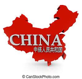 rojo, 3d, china, mapa, con, mandarín, caracteres,...