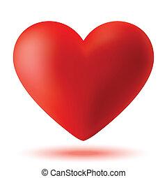rojo, 3d, corazón