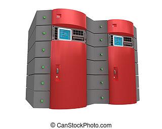 rojo, 3d, servidor