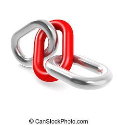 rojo, acero, cadena