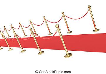 rojo, acontecimiento, alfombra, aislado, en, un, fondo blanco, con, oro, barrier., 3d, ilustración