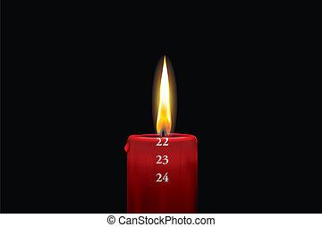 rojo, advenimiento, vela, -, diciembre, 22nd