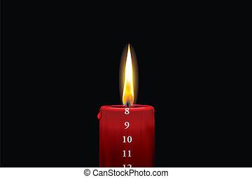 rojo, advenimiento, vela, -, diciembre, 8