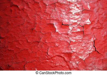 rojo, agrietamiento, pintura