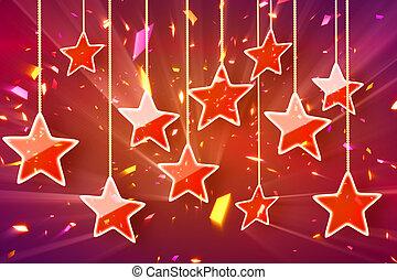 rojo, ahorcadura, estrellas, y, bokeh, luces
