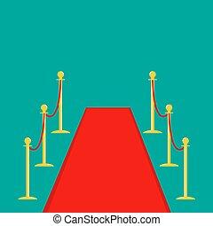 rojo, aislado, torniquete, diseño, verde, fondo., dorado, barrera, postes, plantilla, plano, soga, alfombra