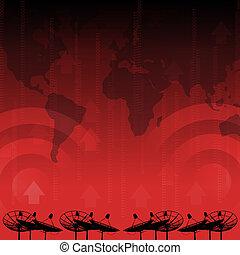 rojo, alarma, :, plato basado en los satélites, transmisión, datos, en, fondo rojo