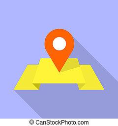 rojo, alfiler, en, amarillo, mapa, icono, plano, estilo
