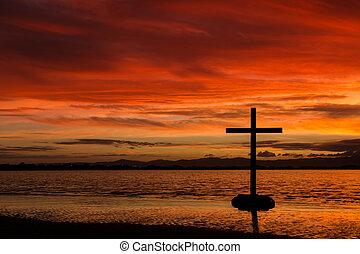 rojo, amanecer, cruz