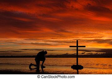 rojo, amanecer, rezando