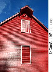 rojo, apartadero, en, un, viejo, granero