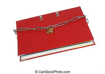 rojo, archive carpeta, con, cadena
