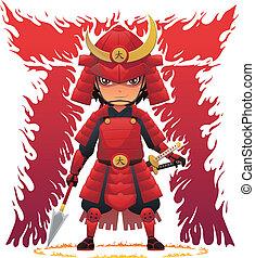 rojo, armadura, samurai
