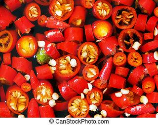 rojo, asiático, chile, salsa