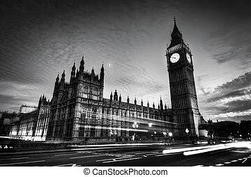 rojo, autobús, big ben, y, palacio de westminster, en, londres, el, uk., en, night., negro y blanco