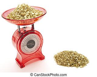 rojo, balanzas de cocina, con, un, pila, de, oro, ser pesado