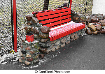 rojo, banco, en el parque