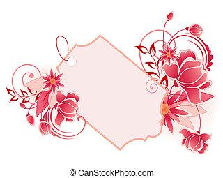 rojo, bandera, con, flores, hojas, y, ornamento