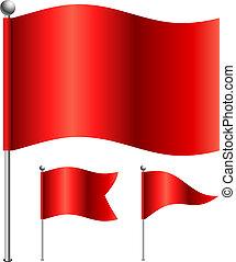 rojo, banderas, vector, ilustración, con, 3, forma,...