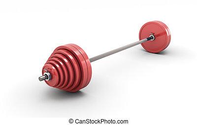 rojo, barra con pesas, aislado, blanco