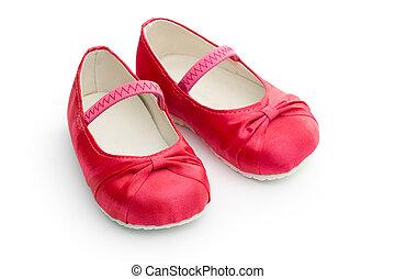 rojo, bebé zapatos