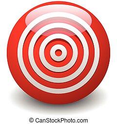 rojo, blanco, diana, exactitud, precisión, icono, -, círculos concéntricos