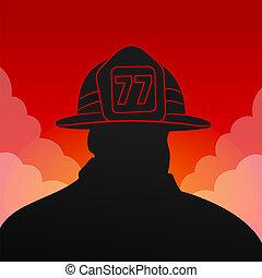 rojo, bombero, silueta