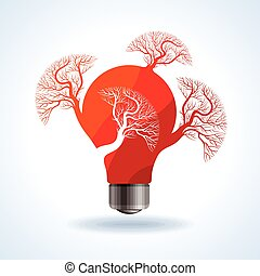 rojo, bombilla, con, árbol