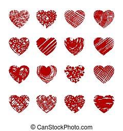 rojo, bosquejo, corazones