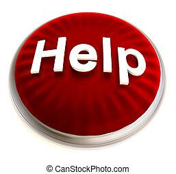 rojo, botón de la ayuda, con, plata, bisel
