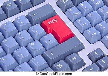 rojo, botón de la ayuda, en, un, teclado