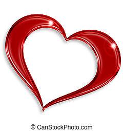 rojo, brillante, corazón, aislado, blanco, plano de fondo
