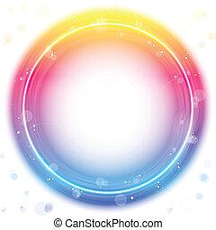 rojo, círculo, frontera, con, chispea, y, swirls.
