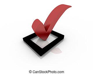 rojo, caja cheque, con, marca de verificación
