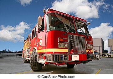 rojo, camión de bomberos