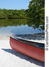 rojo, canoa