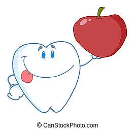rojo, carácter, manzana, tenencia, diente