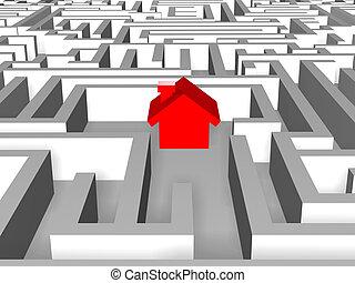 rojo, casa, en, laberinto