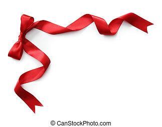 rojo, cinta raso, con, arco