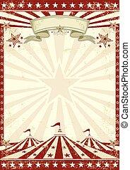 rojo, circo, grunge, cartel