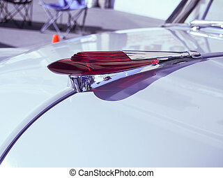 rojo, coche clásico, ornamento capucha