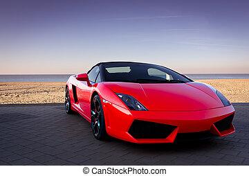 rojo, coche deportivo, en, playa puesta sol