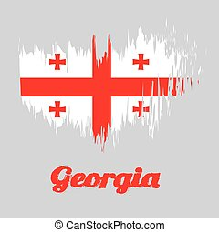 rojo, color, cepillo, bolnur-katskhuri, bandera, grande, cross., cuatro, blanco, georgia, estilo, cruces, esquinas, rectángulo
