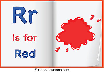 rojo, color, salpicadura, en, un, libro