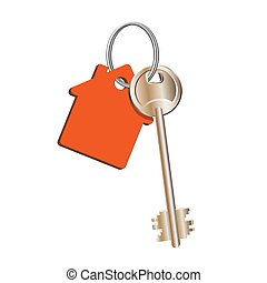 rojo, concepto, verdadero, venta, anillo, propiedad, casa, alquiler, llavero, llave, propiedad, compra