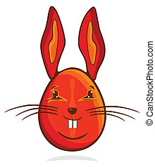 rojo, conejito de pascua, huevo
