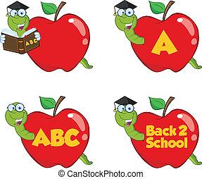 rojo, conjunto, manzana, colección, gusano